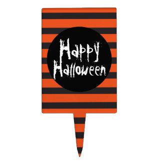 Happy Halloween Orange Black Striped Spooky Font Cake Topper