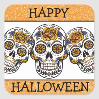 Happy Halloween Orange & Black Sugar Skull Sticker