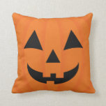 Happy Halloween Orange Carved Smiling Pumpkin Face Pillow