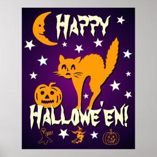 Happy Halloween Orange Cat Moon Pumpkin Poster