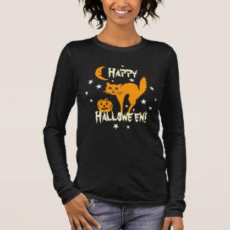 Happy Halloween Orange Cat Pumpkin Crescent Moon Long Sleeve T-Shirt
