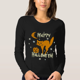 Happy Halloween Orange Cat Pumpkin Crescent Moon T-Shirt