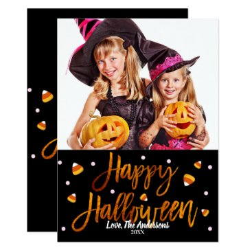 Halloween Themed Happy Halloween Orange Foil Modern Script Photo Card