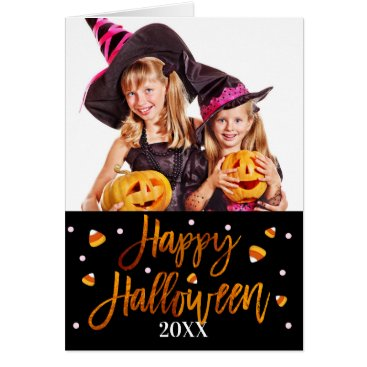 Halloween Themed Happy Halloween Orange Foil Script Holiday Photo Card