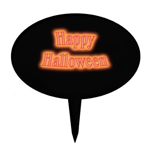 Happy Halloween orange glow Oval Cake Toppers