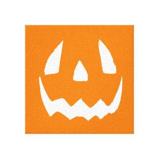 Happy Halloween Orange Jack O'Lantern Face Gallery Wrap Canvas
