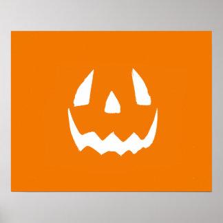 Happy Halloween Orange Jack O'Lantern Face Poster
