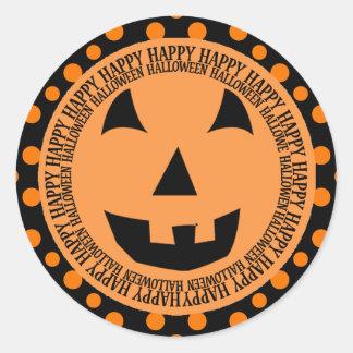 Happy Halloween Orange Owl Classic Round Sticker