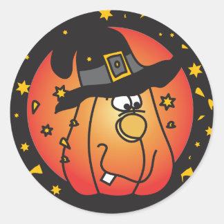 Happy Halloween Orange Pumpkin Classic Round Sticker