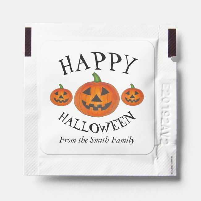 Happy Halloween Orange Pumpkin Jack o' Lantern Hand Sanitizer Packet