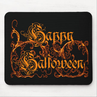 Happy Halloween Orange Scrolls Mouse Pad