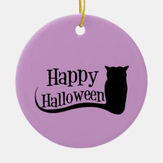 Happy Halloween Owl Ceramic Ornament