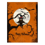 Happy Halloween Owl In A Tree Postcards