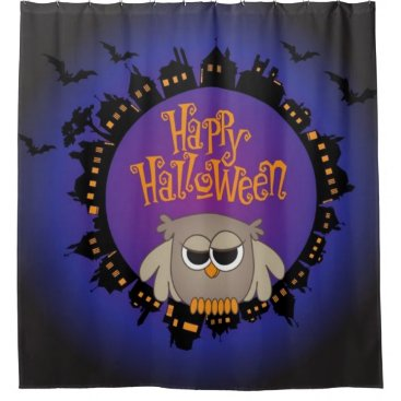 Halloween Themed Happy Halloween Owl Shower Curtain