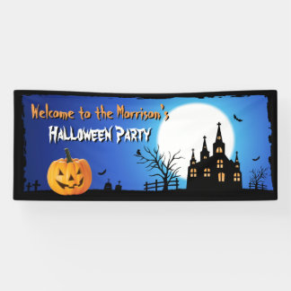 Happy Halloween Party Blue Moonlight Scary Night Banner
