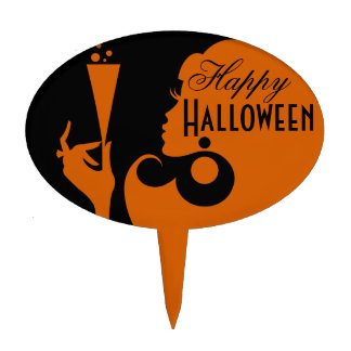 Happy Halloween Party Cocktail Girl Cake Topper