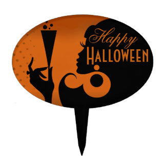Happy Halloween Party Cocktail Girl Oval Cake Toppers
