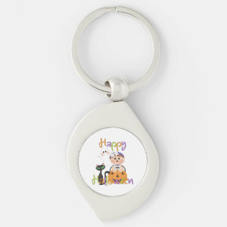 Happy Halloween Party Friends Silver-Colored Swirl Metal Keychain