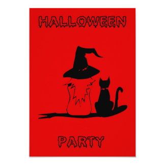 Happy Halloween Party Invitation witch black cat
