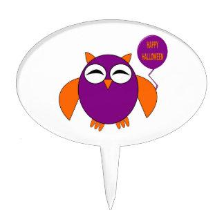Happy Halloween Party Owl Cake Pick