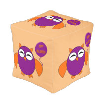 Happy Halloween Party Owl Cube Pouf