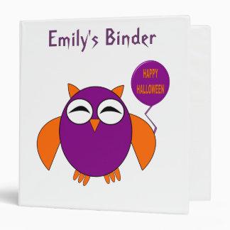 Happy Halloween Party Owl Custom Binder