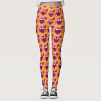 Happy Halloween Party Owl Leggings