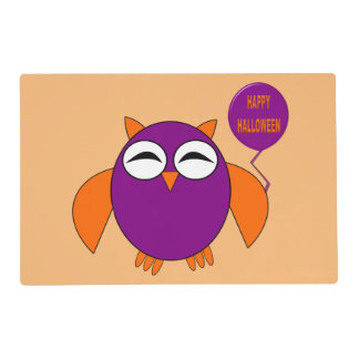Happy Halloween Party Owl Personalized Placemat