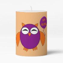 Happy Halloween Party Owl Pillar Candle