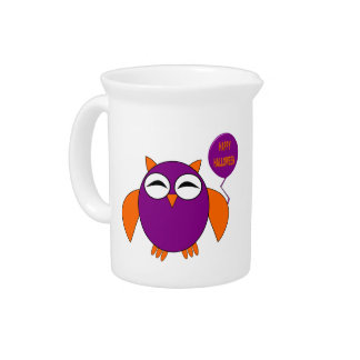 Happy Halloween Party Owl Pitcher