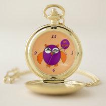 Happy Halloween Party Owl Pocket Watch