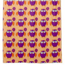 Happy Halloween Party Owl Shower Curtain