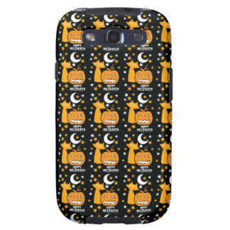 Happy Halloween pattern with cat stars and pumpkin Galaxy SIII Cases