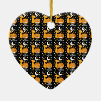 Happy Halloween pattern with cat stars and pumpkin Ceramic Ornament