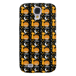 Happy Halloween pattern with cat stars and pumpkin Samsung Galaxy S4 Cover