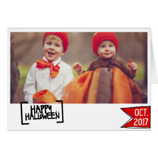 Happy Halloween photo card colorful typography