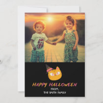Happy Halloween Photocard with Cat Orange Pink Holiday Card