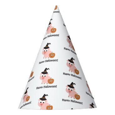 Halloween Themed Happy Halloween Pig Witch Party Hat