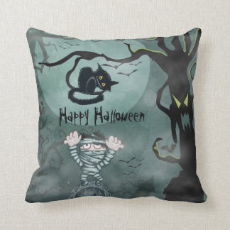 Happy Halloween Pillow Mummy and Cat