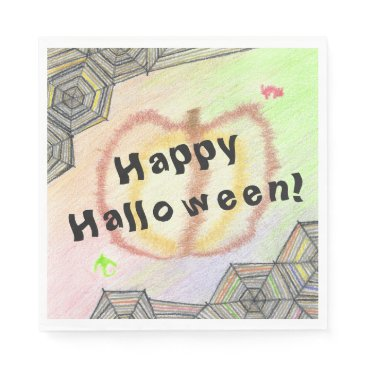 Halloween Themed Happy Halloween! Playful Colorful Set of Napkins