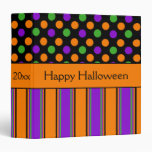 Happy Halloween Polka Dot Striped Personalized 3 Ring Binders