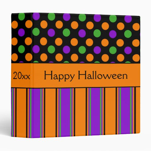 Happy halloween polka dot striped personalized binder zazzle for Striped and polka dot pumpkins
