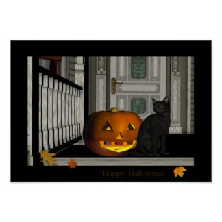 Happy Halloween Porch Kitty poster