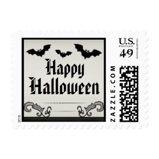 Happy Halloween Postage - Light Tan & Black Bats