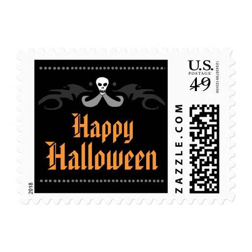 Happy Halloween Postage - Orang & Black with Skull