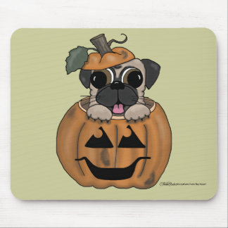 Happy Halloween-Pug in Jack O' Lantern Mouse Pad