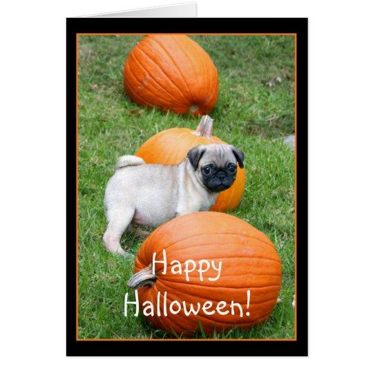 Happy Halloween Pug puppy greeting card