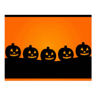 Happy Halloween Pumkin Heads Postcard