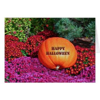 """HAPPY HALLOWEEN PUMPKIN AMONG FLOWERS"" CARD"