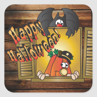 Happy Halloween Pumpkin and Bat Square Sticker